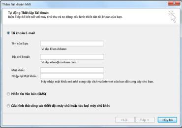 Hộp thoại Thêm Tài khoản Mới với Tài khoản email được chọn
