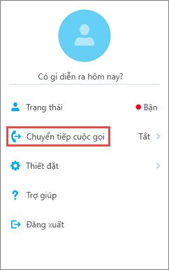 Tùy chọn chuyển tiếp cuộc gọi trên màn hình chính của Skype for Business for iOS
