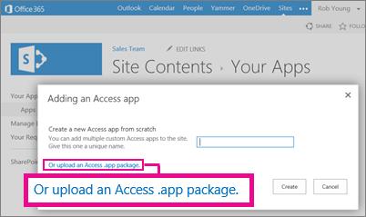 Đang tải lên gói ứng dụng Access vào trang Thêm ứng dụng trên site SharePoint