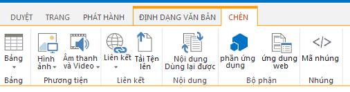 Ảnh chụp màn hình của tab Chèn chứa các nút có chức năng chèn bảng, video, đồ họa và các nối kết tới trang của bạn