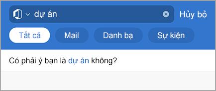 Hiển thị tìm kiếm trong Outlook với các lỗi chính tả
