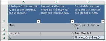 Để in câu hỏi khảo sát và phản hồi, hãy chọn ô có chứa các phản hồi.