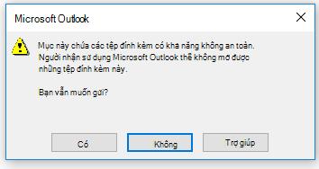 Cảnh báo tệp đính kèm không an toàn trong Outlook