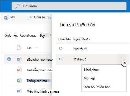 Ảnh chụp màn hình hoạt động khôi phục tệp trong OneDrive for Business từ lịch sử phiên bản tại Ngăn chi tiết trong trải nghiệm hiện đại