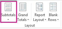 Nút Tổng phụ trên tab Thiết kế
