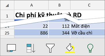 Trang tính với thanh lệnh theo ngữ cảnh khả dụng ở cuối màn hình