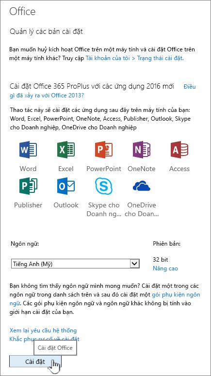 Trang phần mềm của tôi trong Office 365 để tải xuống Office 2016