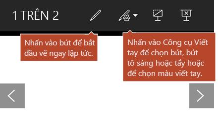 Công cụ viết tay sẵn dùng trong dạng xem trình chiếu.