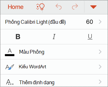 Menu phông trong PowerPoint for iOS.