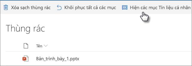Dạng xem thùng rác OneDrive Hiển thị tùy chọn ' Hiển thị các mục của Vault cá nhân '
