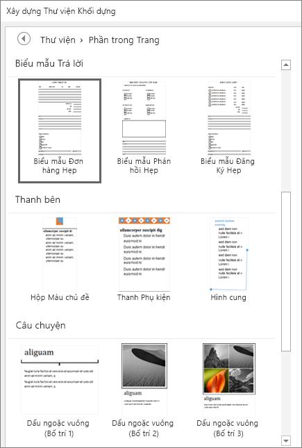 Ảnh chụp màn hình một phần cửa sổ Thư viện Khối Dựng đang hiển thị các hình thu nhỏ trong danh mục Phần Trang.