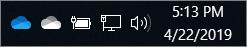 OneDrive SyncClient với các biểu tượng đám mây màu lam và đám mây màu trắng