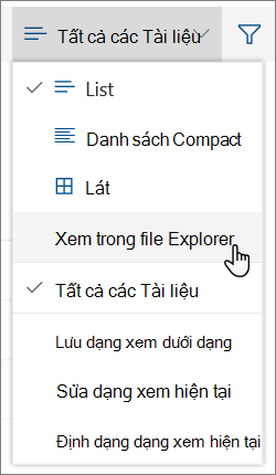 Tất cả tài liệu menu với mở trong File Explorer được tô sáng