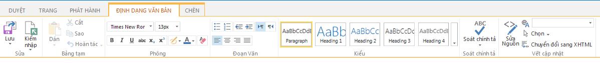 Ảnh chụp màn hình của tab Định dạng Văn bản bao gồm nhiều nút có chức năng định dạng văn bản