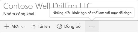Thư viện tài liệu SharePoint Onine menu
