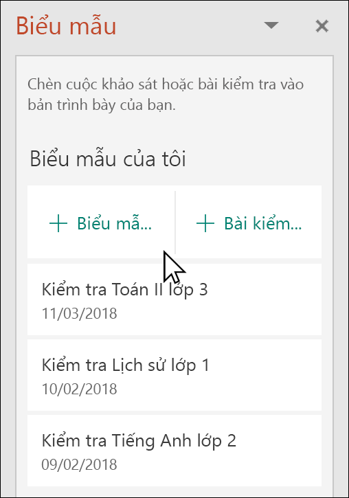 Microsoft Forms ngăn trong PowerPoint