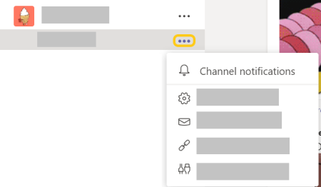Hình ảnh nút thông báo kênh trong menu xem thêm tùy chọn.