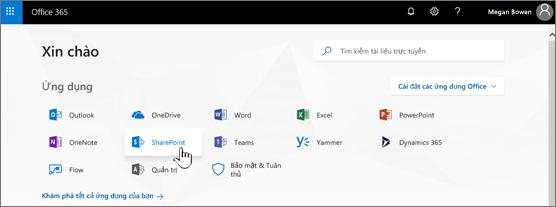 Trang bắt đầu Office 365 với SharePoint được chọn