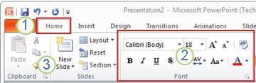 Ví dụ về ribbon PowerPoint. Các thành phần.
