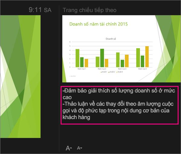 Hiển thị ghi chú trong dạng xem Diễn giả trong PowerPoint 2016 for Mac