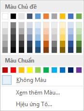 Tùy chọn màu trang trên ruy-băng