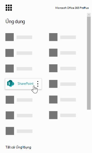 Công cụ khởi động ứng dụng Office 365 với ứng dụng SharePoint được tô sáng