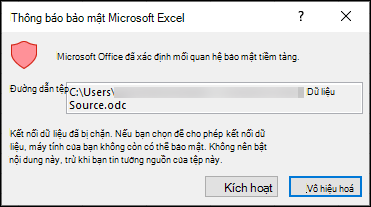 Thông báo bảo mật Microsoft Excel - cho biết rằng Excel đã xác định mối quan hệ bảo mật tiềm tàng. Chọn bật nếu bạn tin tưởng nguồn vị trí tệp, tắt nếu bạn không.