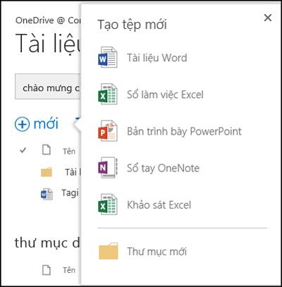 Các tùy chọn Office Online mà bạn có thể dùng từ nút Mới trong OneDrive for Business