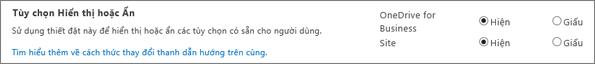Phần tùy chọn thiết đặt SharePoint SPO hiện/ẩn