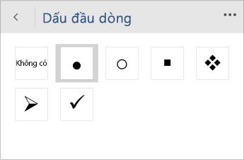 Ảnh chụp màn hình menu Dấu đầu dòng để chọn kiểu dấu đầu dòng trong Word Mobile.