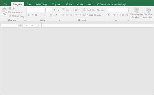 Cửa sổ Excel trống với nút không sẵn dùng; Không có sổ làm việc mở.