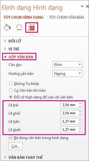 Tùy chọn Hộp Văn bản trên ngăn Định dạng Hình dạng