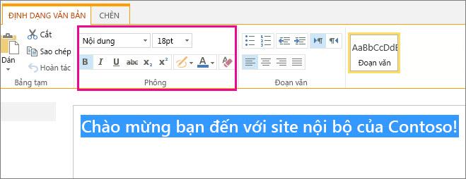 Sử dụng điều khiển phông chữ ở phía trên của trang để định dạng thư Chào mừng của bạn