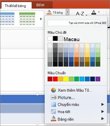 Ảnh chụp màn hình hiển thị tab thiết kế bảng nơi mũi tên thả xuống tô bóng được chọn để hiển thị tùy chọn sẵn dùng, bao gồm không tô, màu chủ đề, màu chuẩn, thêm tô màu, ảnh, chuyển màu, họa tiết và nền bảng.