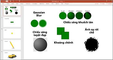 Trang chiếu với các ví dụ về bộ lọc SVG
