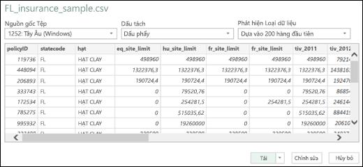 Hộp thoại đường kết nối Văn bản/CSV được cải tiến trong Power BI của Excel