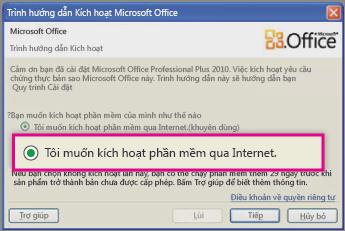 Kích hoạt phần mềm qua Internet