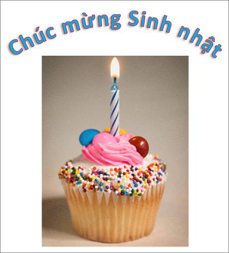 Ví dụ WordArt với các từ Chúc mừng Sinh nhật và ảnh