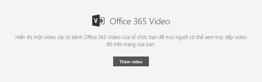 Ảnh chụp màn hình hộp thoại Thêm video của Office 365 trong SharePoint.