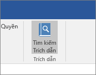 Ảnh chụp màn hình hiển thị mục dải băng Office kèm câu lệnh Tìm Trích dẫn được tô sáng trong phần bổ trợ Trích dẫn.