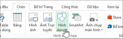 Nút Chèn hình dạng trong Excel