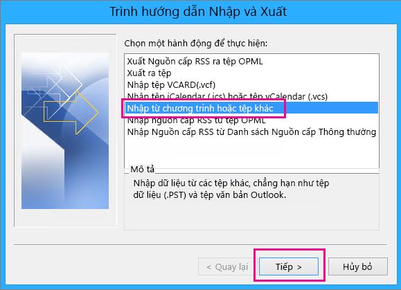 Chọn nhập email từ chương trình hoặc tệp khác