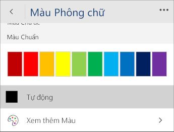 Ảnh chụp màn hình menu Màu Phông với tùy chọn Tự động đã chọn.