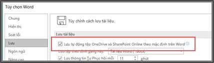 Hộp thoại Tệp > Tùy chọn > Lưu hiển thị hộp kiểm để bật hoặc tắt lưu tự động