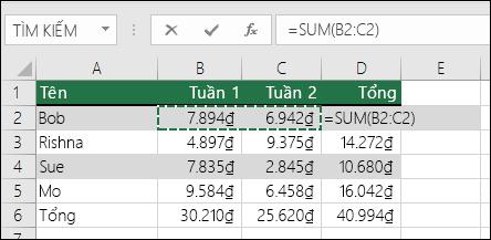 Ô D2 hiển thị công thức Tổng Tự Tính tổng: =SUM(B2:C2)