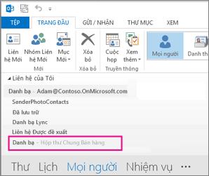 Danh sách liên hệ chung hiển thị trong Ngăn Liên hệ trong Outlook