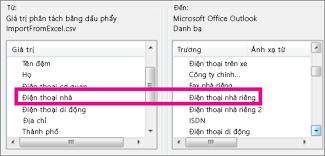 Ánh xạ các trường trong tệp nhập vào các trường trong Outlook