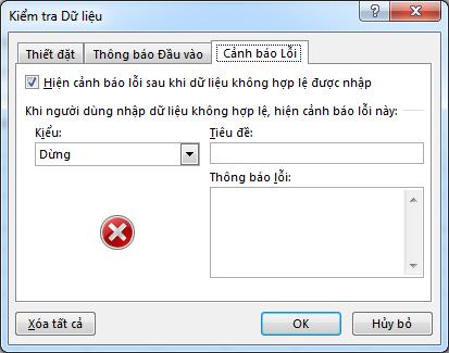 Gõ thông báo mà bạn muốn mọi người nhìn thấy nếu danh sách thả xuống không hoạt động đúng cách trong Excel