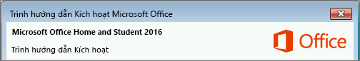 Hiển thị phiên bản Office như minh họa trong Trình hướng dẫn Kích hoạt.