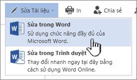 Tài liệu Word được mở từ thư viện SharePoint với Chỉnh sửa trong Word được tô sáng